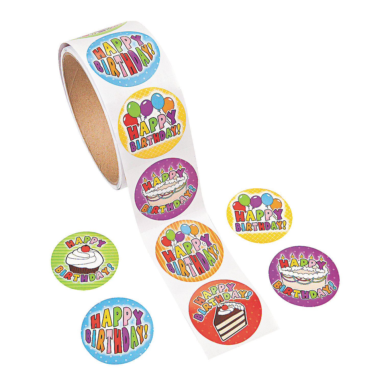 birthday roll stickers roll of 100. Black Bedroom Furniture Sets. Home Design Ideas