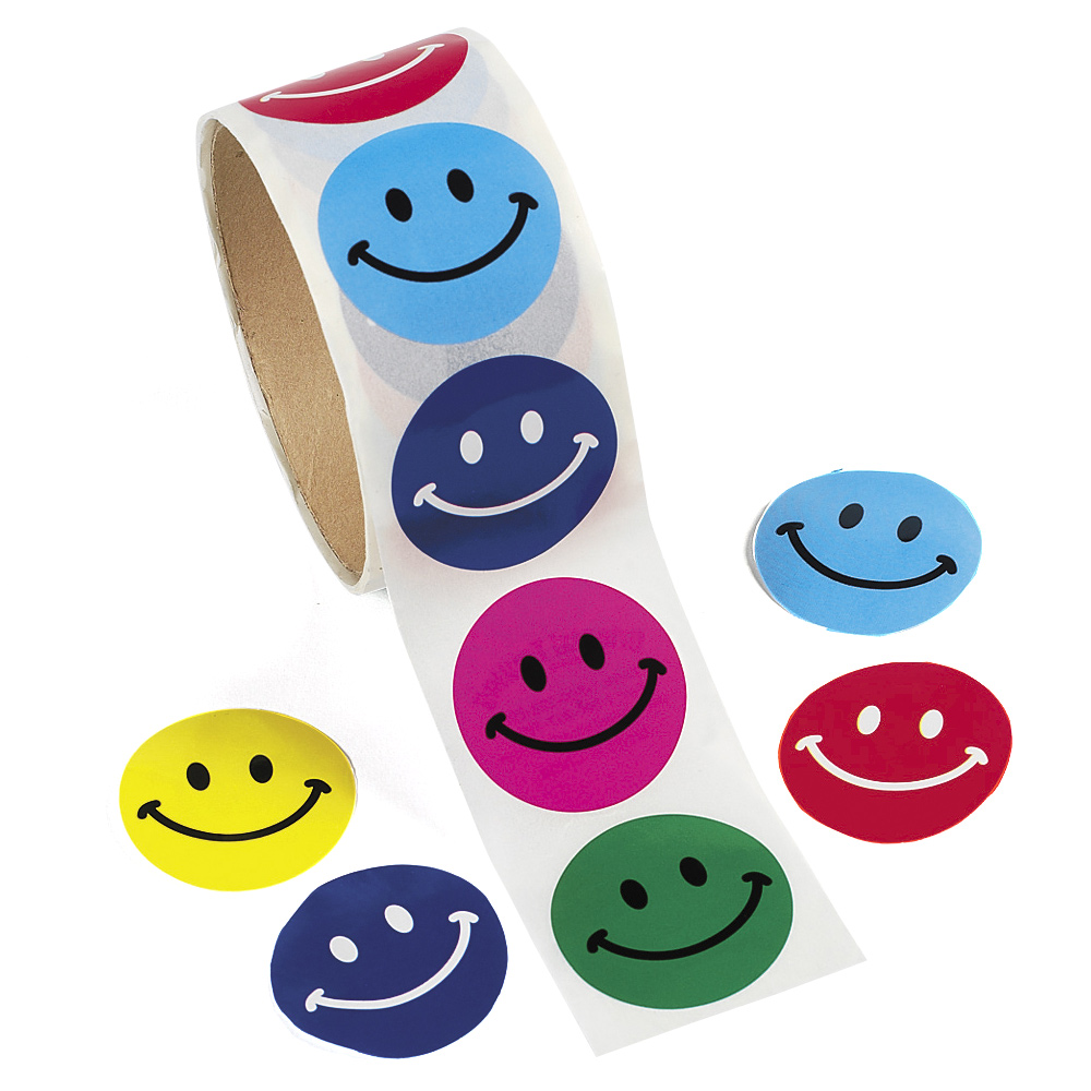 Smiley Face Stickers - Roll of 100: Partypalooza.com